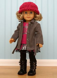 Grey Coat with Pink Tank Plaid Skirt Leggings and Hat