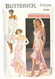 Butterick 6208 Misses 1980s Mermaid Dress Pattern Strapless Sweetheart Bombshell Evening Cocktail Gown Vintage Sewing Pattern  Bust 32.5
