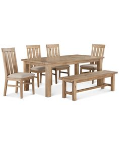 Abilene 6-Pc. Dining Set (Table, 4 Side Chairs & Bench)
