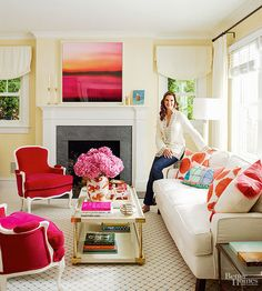 Brooke Shields red bergere chair