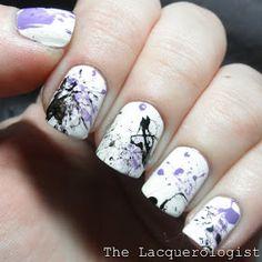 Purple & Black Splatter Nail Art-love this colour combo!!