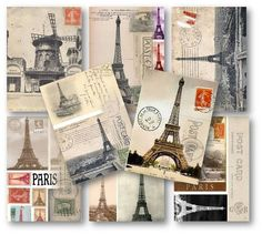 Paris Vintage Postcards Eiffel Tower Digital by vintagebyme