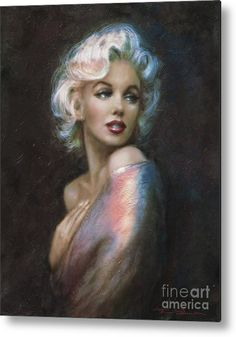 Marilyn Romantic Ww 4 Blue Metal Print by Theo Danella.  All metal prints are professionally printed, packaged, and shipped within 3 - 4 business days and delivered ready-to-hang on your wall. Choose from multiple sizes and mounting options.