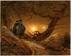 Caspar David Friedrichカスパール・ダヴィッド・フリードリヒ(1774ー1840)「Zwei Männer in Betrachtung des Mondes(月を見つめる二人の男)」(1819-20)