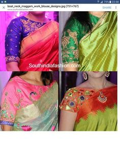 Simple Boat Neck Maggam Work Blouse Designs for Silk Sarees Simple Boat Neck Maggam Work Blouse Deisgns for Silk Sarees Silk Saree Blouse Designs, Saree Blouse Patterns, Designer Blouse Patterns, Fancy Blouse Designs, Blouse Neck Designs, Blouse Styles, Silk Sarees, Sari Blouse, Indian Sarees