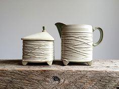 Twiggy cream and sugar all glazed up.  #ceramics #pottery  #creamandsugar…