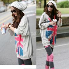JOIN US,20% OFF.Women's Cute Over Hip Large Long Sleeve UK Flag Front Print T-Shirt Hoddies