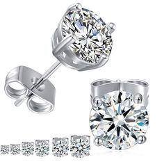 38def7354 Sparkly Cubic zirconia stud earrings ,Package with 6 pairs with size and  Brass material with white gold plated Higher quality cubic zirconia and  metal is so ...