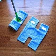 Make your own REUSABLE SWIFFER using old TOWELS and VELCRO. Use your current mop…