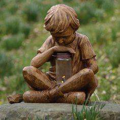 Boy with Firefly Garden Statue.