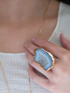 JEAN Organic blue lace agate pendant ring.  Stone will vary in size and shape. Available in silver or gold. Hand-made by Robyn Rhodes Boho Jewelry, Jewelry Accessories, Druzy Ring, Gemstone Rings, Blue Lace Agate, Unique Rings, Personal Style, Bling, Gemstones