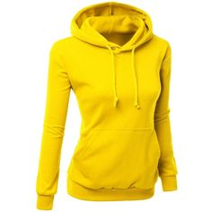 Xpril Women's Colorful and Comfortable Simple design Hoodie Shirt (€21) ❤ liked on Polyvore featuring tops, hoodies, colorful shirts, shirts & tops, colorful tops, yellow hooded sweatshirt en yellow hoodie