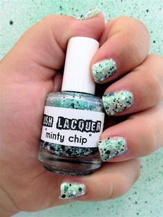 Minty Chip:  Custom-Blended Glitter Nail Polish / Lacquer (One regular size bottle 15 ml size). $8.75, via Etsy.