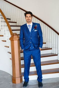 Bright blue suit for groom - three-piece suit with light blue necktie and burgundy boutonniere Green Pearl Photography Blue Groomsmen Suits, Khaki Suits, Groom And Groomsmen, Mens Suits, Camp Wedding, Wedding Men, Wedding Suits, Friend Wedding, Wedding Things
