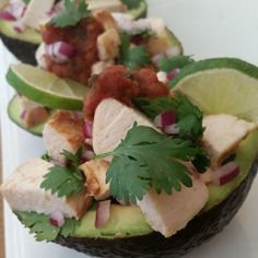 5 minute Stuffed Avocados Tonight! Thanks to Sunday meal prep! ■Avocados sliced in half ■Fresh lime brushed on the avocado Combine: ■Diced Chicken Breasts (grilled the day before) ■Diced red onion ■Chopped fresh cilantro ■Fresh lime ■light sprinkle of: sea salt, cumin, & black pepper {Fill the avocado. Top with all-natural Salsa}