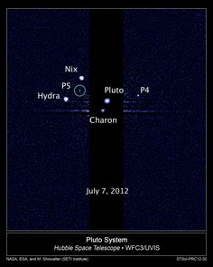 This image, taken by NASA's Hubble Space Telescope, shows five moons orbiting the distant, icy dwarf planet Pluto. The green circle marks the newly discovered moon, designated P5, as photographed by Hubble's Wide Field Camera 3 on July 7. The observations will help scientists in their planning for the July 2015 flyby of Pluto by NASA's New Horizons spacecraft. P4 was uncovered in Hubble imagery in 2011. (Credit: NASA; ESA; M. Showalter, SETI Institute)