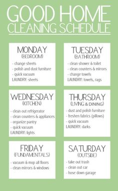 Good Home Cleaning Schedule #clutterclearing