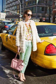 Chiara Ferragni, aka The Blonde Salad, mixes bright colors, prints, and fur with aplomb #NYFW #streetstyle #fashionweek