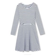 Round Neck Patchwork Waist Long Sleeve Stripes Midi Dress ($19) ❤ liked on Polyvore featuring dresses, long sleeve midi dress, midi dress, striped midi dress, round neckline dress and mid calf dresses