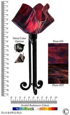 Jezebel Radiance® Torch Light. Hardware: Black. Glass: Plum, Flame Style