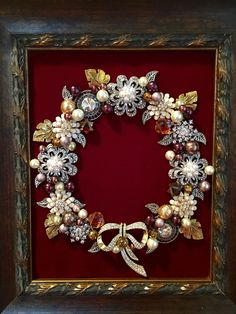 Brown and gold jewelry wreath made by Beth Turchi 2015