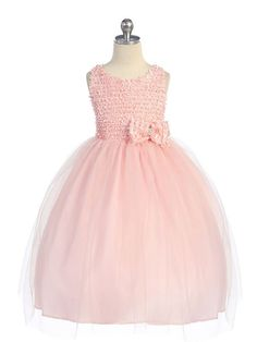 Pink Sleeveless Trimmed Style Overlayed Flower Girl Dress (Infant sizes-12)