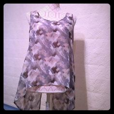 NEW sheer tunic Beautiful New with tags. Two buttons in the back. Front length is 16.5 inches, back 26.5. Multi grays, white and a little peach tones. Paper Crane Tops Tunics