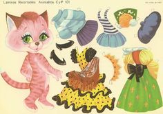 Pink Cat Paper Dolls From Sweden
