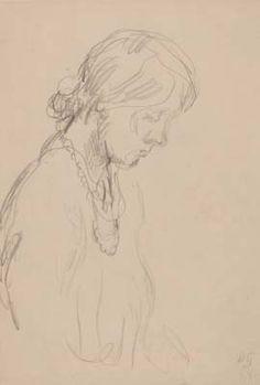 Duncan Grant - 'Vanessa Bell' - pencil on paper - ca 1918