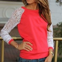 Sleeve Lace Patchwork Sweater