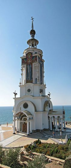 Russia, Malorechenskoye, old resort town in Crimea: the lighthouse temple of St. Nicholas the Wonderworker.