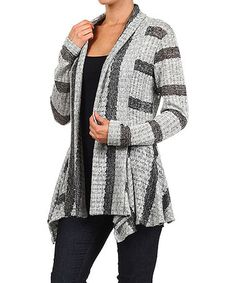 Another great find on #zulily! Gray & Charcoal Stripe Open Cardigan #zulilyfinds