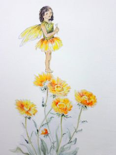 Fairy wall decal flower fairy watercolour wall by SmockBallpoint