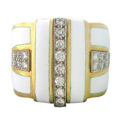 David Webb Gold White Enamel Diamond Ring. METAL: 18k Yellow Gold /Platinum. MARKED/:Webb, Plat, 18k