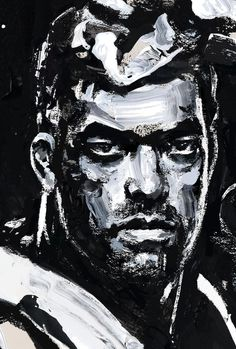 black and white portrait painting of Lyoto Machida : if you love #MMA, you'll love the #UFC & #MixedMartialArts inspired fashion at CageCult: http://cagecult.com/mma