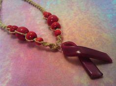 #Pink #ribbon #hemp #necklace by hemptressdesigns.com - $12.00