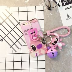 For Girl Cute Stitch Finger Ring Charm Strap Doll Soft Case For Iphone 6 6S Plus