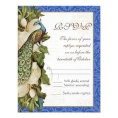 Peacock Magnolia Floral Swirl Damask Wedding RSVP Custom Invite