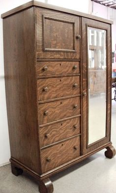 Circa 1910 Tiger Oak Beveled Mirror Wardrobe Vintage Office Antique
