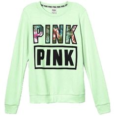 Victoria's Secret PINK Perfect Crew Sweatshirt Tropical ($80) ❤ liked on Polyvore featuring tops, hoodies, sweatshirts, green top, crew-neck tops, victoria secret sweatshirt, victoria's secret and crew-neck sweatshirts