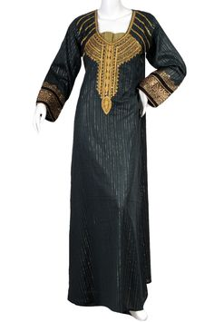"aljalabiya.com: ""The Egypt Kaftan"" Golden striped cotton jalabiya with hand and machine embroidery on chest and print on cuffs (N-10306)  $89.00"