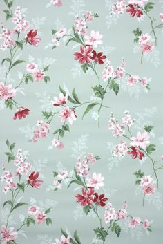 pink and green floral vintage wallpaper shabby chic style from Hannah's Treasures collection of authentic vintage wallpaper rolls from the 1930s 1940s 1950s 60s and 70s