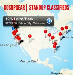 Put your shop, rentals & gear your selling on the mobile map. List for free on GOSUPGEAR mobile platform up to 12 photos. Each listing also creates a searchable web listing with description for SUP enthusiasts to help find what they are looking for. GOSUPGEAR is mobile web bulletin board with local mapping to help buyers and sellers connect.