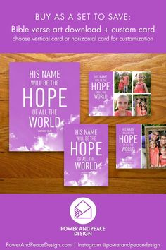 His name will be the hope of all the world Matthew 12:21 The light shining from behind the clouds reminds us of the one who is light to us all: Jesus. Choose this custom purple religious Christmas card and art set and share your hope with all you know. #purple #purpleChristmas #purplecards #lavender #lavenderChristmas #lavendercards #Christmas #Christmascards #Matthew #Matthew12 #hope #hopequote Lavender Decor, Lavender Walls, Bible Verse For Today, Bible Verse Art, Purple Christmas, Christmas Decor, Religious Christmas Cards, Purple Cards, Hope Quotes