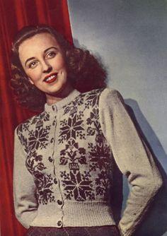 Fair Isle Knitting Patterns, Fair Isle Pattern, Knit Mittens, Knitted Hats, Knitting Yarn, Hand Knitting, Icelandic Sweaters, Retro Fashion, Vintage Fashion