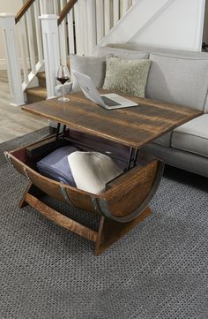 Reclaimed Wine Barrel Coffee Table With Unique Lift-Top - Whiskey barrel ideas - Wine Barrel Coffee Table, Whiskey Barrel Furniture, Coffee Table Plans, Coffee Ideas, Rustic Furniture, Cool Furniture, Furniture Stores, Furniture Ideas, Modern Furniture