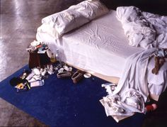 My Bed  http://www.nationalgalleries.org/media/_source/exhibitions_2008/emin_mybedcorrectalt.jpg