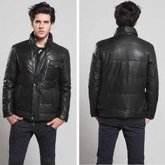 Men Black Sheepskin Leather Fitted Winter Warm Dress Down Coat Clothing SKU-116169