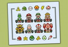 Mario Kart sprite pattern by cloudsfactory Melty Bead Patterns, Perler Patterns, Beading Patterns, Embroidery Patterns, Tattoo Patterns, Cross Stitching, Cross Stitch Embroidery, Cross Stitch Patterns, Mario Kart