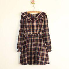 Vintage Yaka Belden Büzgülü Ekose Elbise